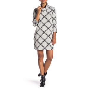 Vince Camuto Long Sleeve Print Sweater Dress